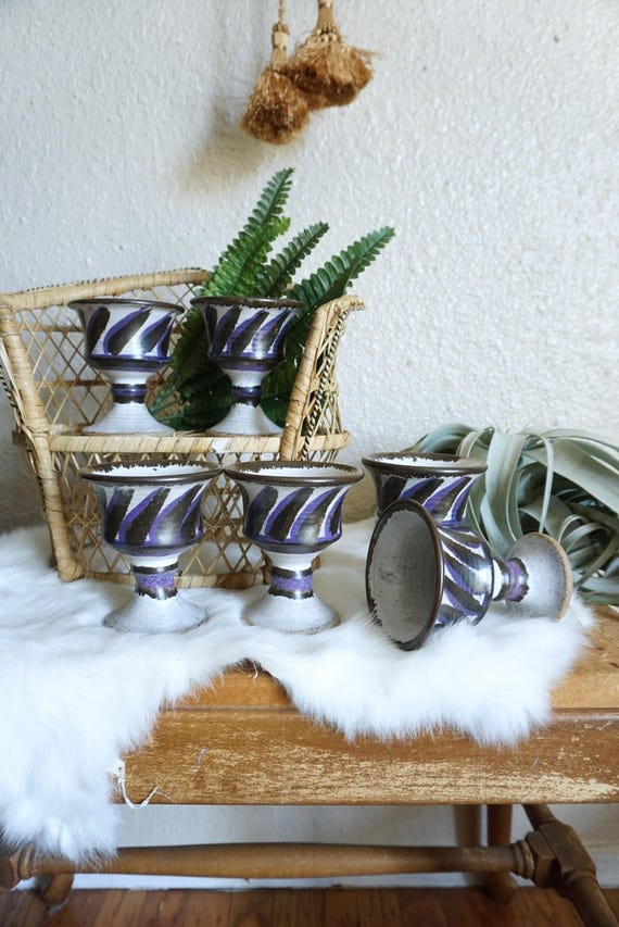 Gorgeous Set of 6 Purple and Black Ceramic Goblet Cups