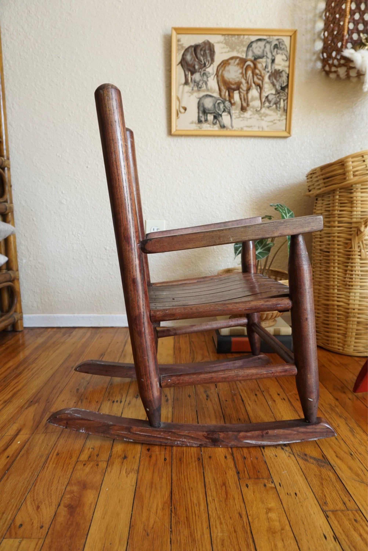 Reserved Vintage Dark Brown Solid Wood Children S Rocking Chair