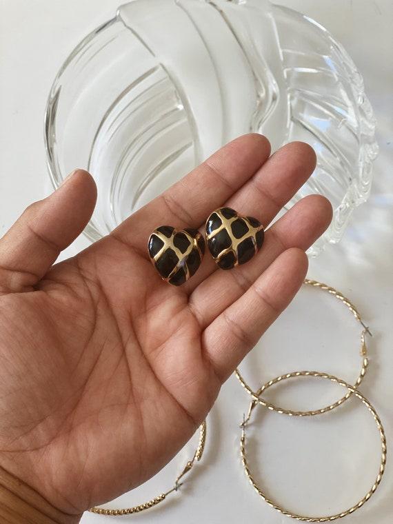 Black enamel and gold stud clip on earrings