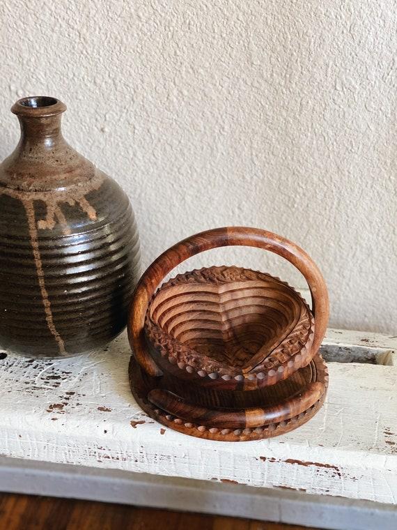 Vintage Teak Wood Carved Collapsible Heart Shaped Wooden Bowl / Fruit Holder / Flower Vase