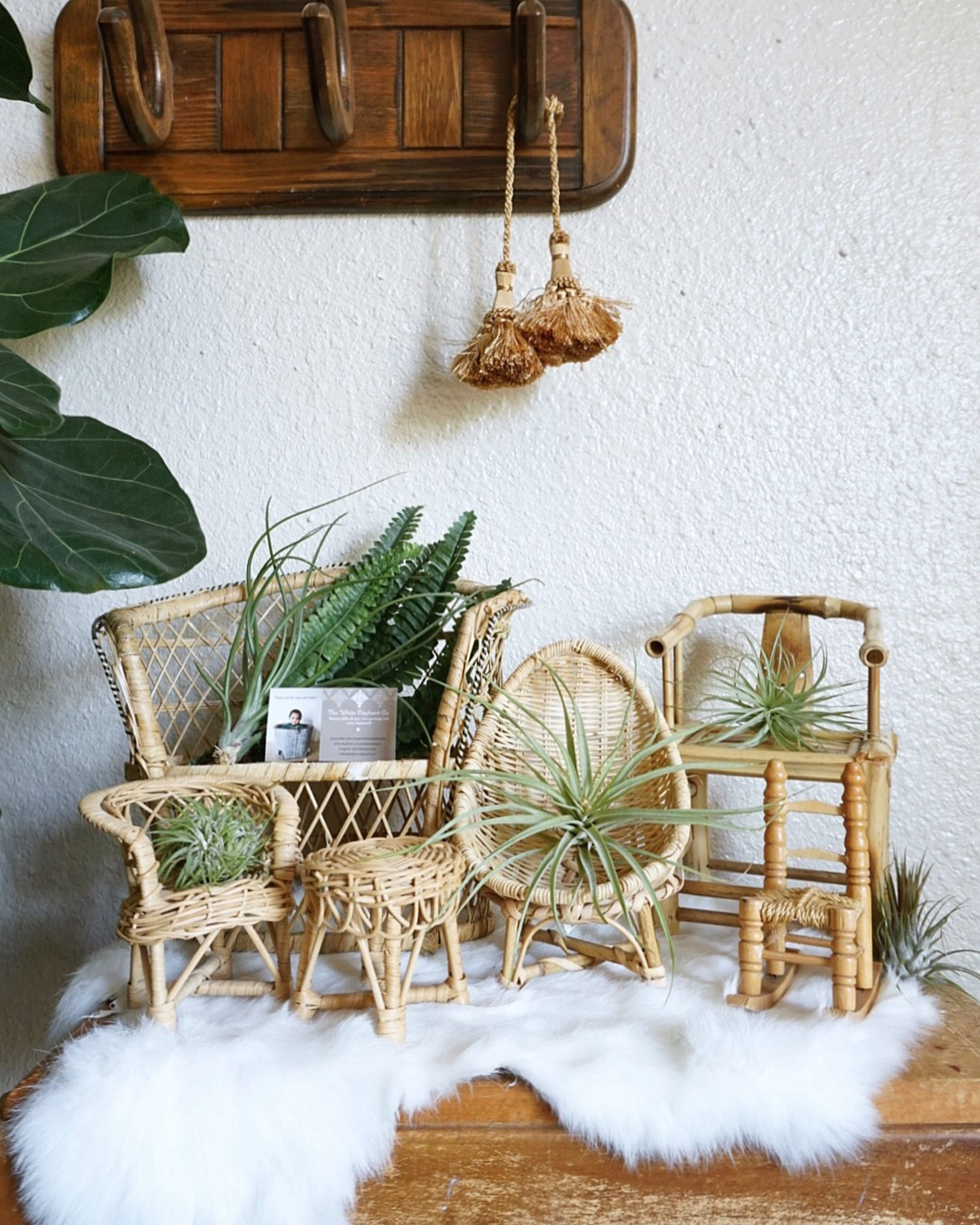 Vintage Miniature Furniture Thatched Rocking Chair Wicker