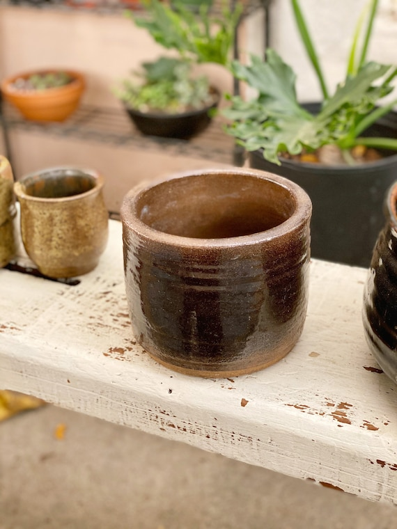 Round Cylinder Dark Brown and Earthtone Glaze Ceramic Planter Pot / Vase / Vessel