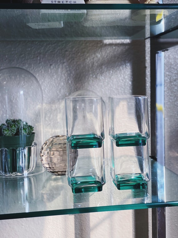 Clear Glass and Green Square Lowball Tumbler Glasses Set of 4 - Mid Century Mad Men Style Barware Glassware