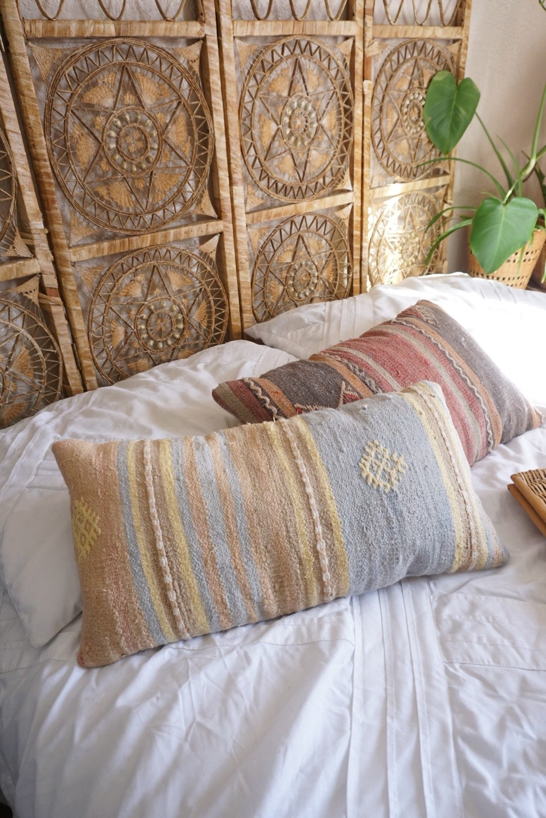 RESERVED---Vintage Pastel Blue Peach Kilim Pillow Cover ...
