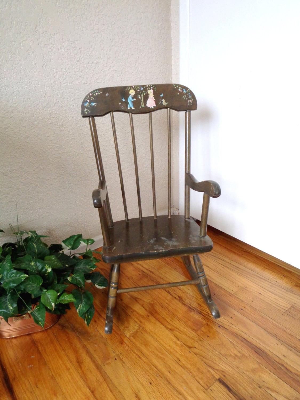 Vintage Dark Wood Childrenu0027s Rocking Chair   Mid Century Hedstrom Oak Hill  Furniture