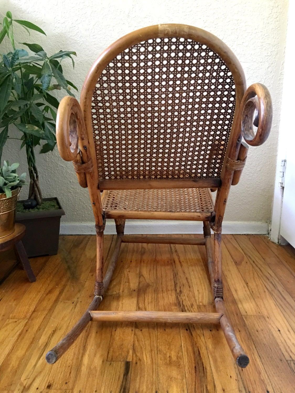 Vintage Bentwood Wicker Cane Children S Rocking Chair