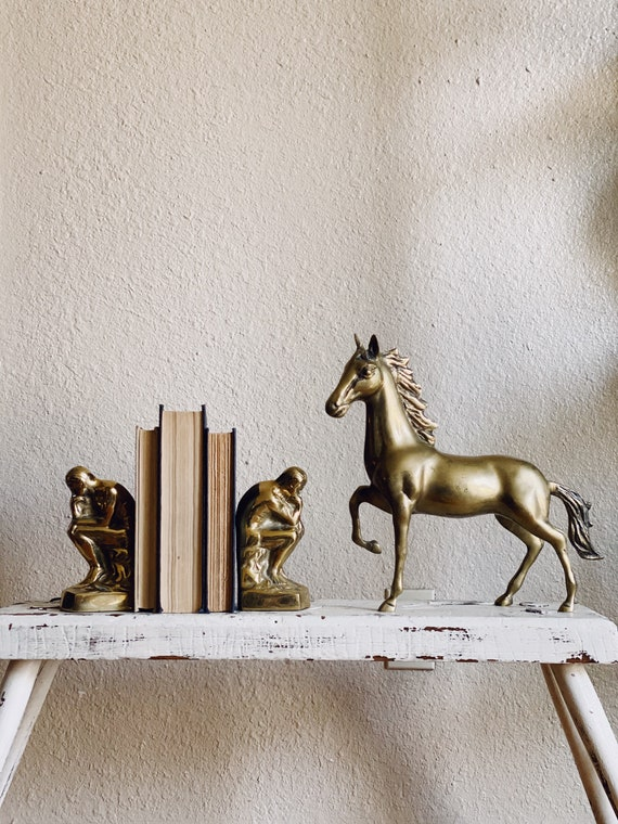 Pair of Solid Brass Thinking Man Statue Bookends
