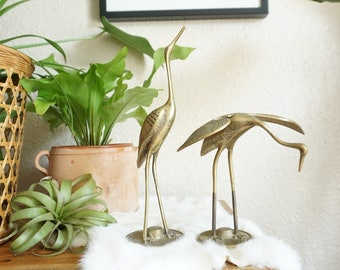 Mid Century Solid Brass Crane / Egret / Bird Figurine Pair of Two