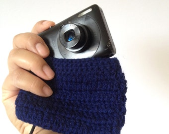 Handmade Knitted Camera Case Cover - Dark Blue