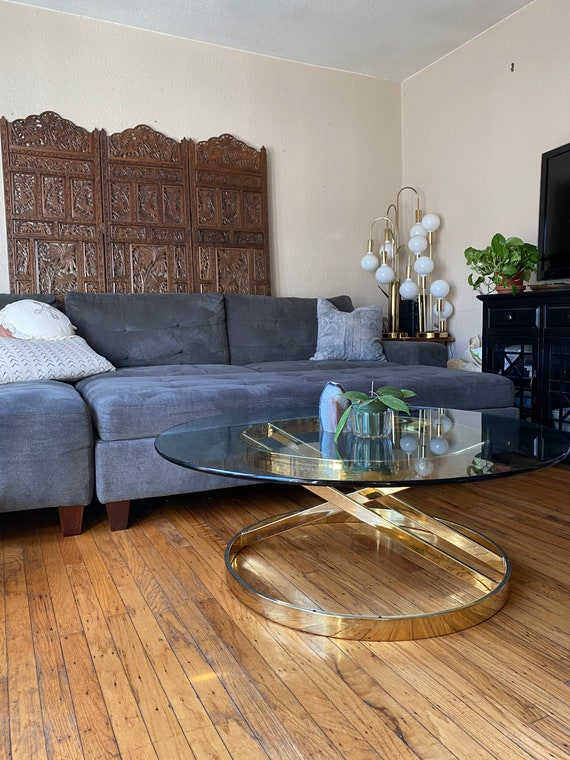 Hollywood Regency Style Round Gold Chrome Metal Coffee Table with Glass Top