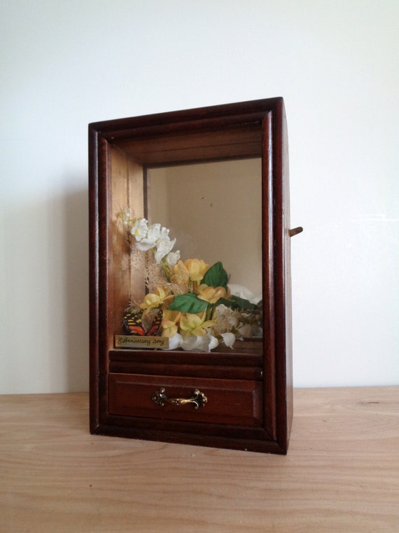 Vintage 1978 George Good Butterfly Musical Shadow Box with Drawer