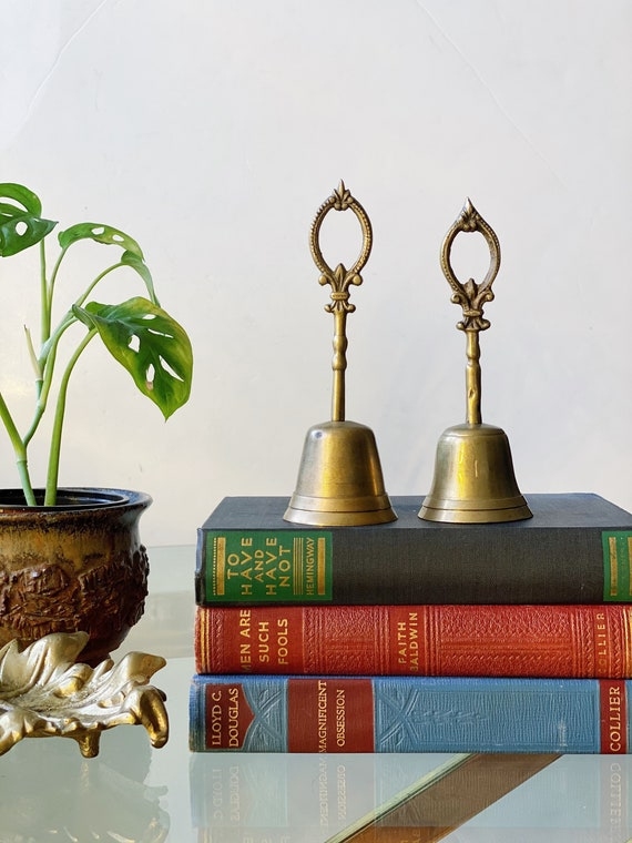 Vintage Solid Brass Bell with Fleur de lis Ornate Tear Drop Handle