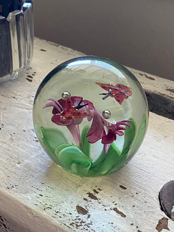 Butterfly and Flower Clear Glass Orb Paperweight - Murano Style Blown Glass Art