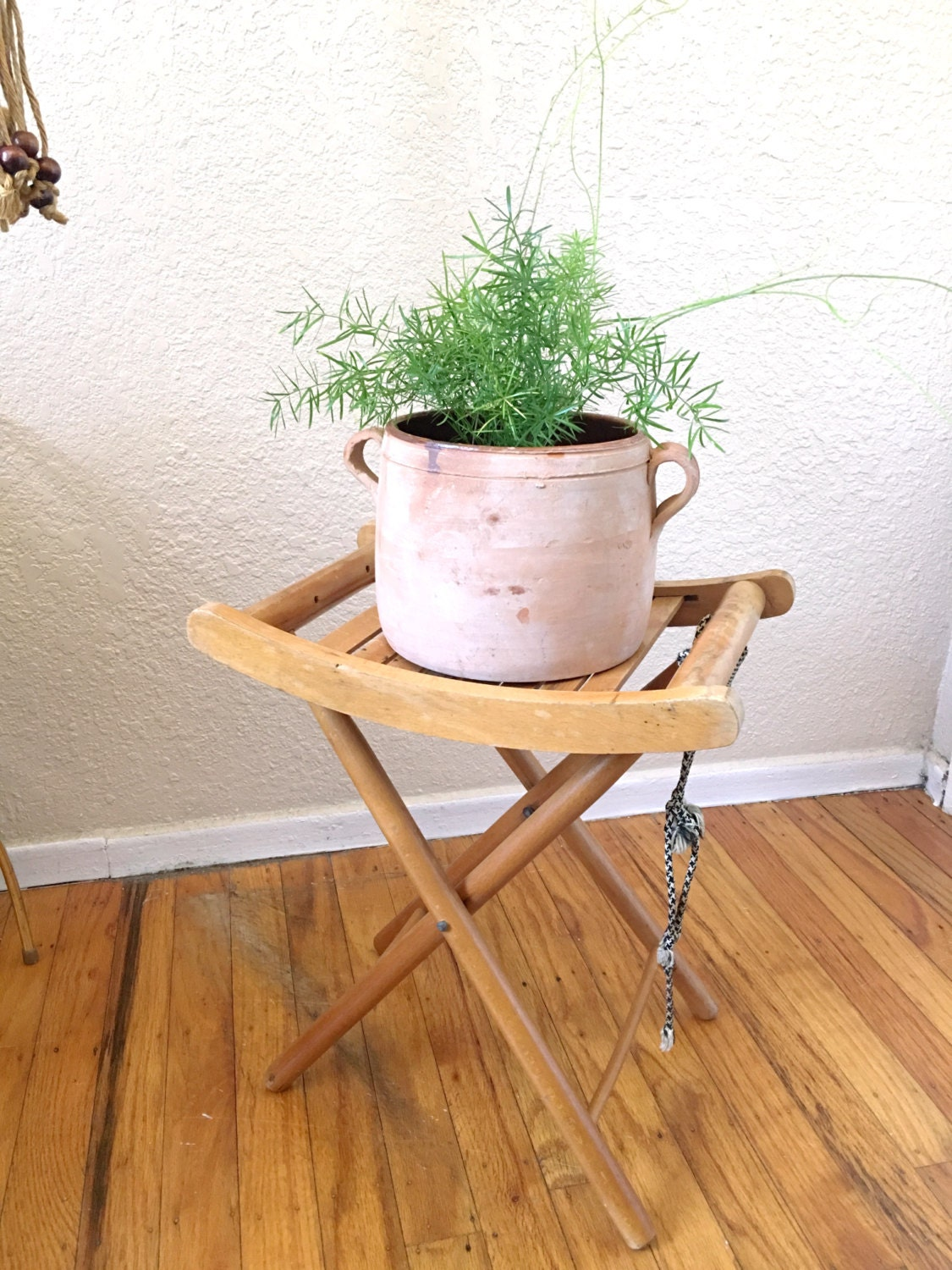 Vintage Nevco Wooden Folding Stool Chair Plant Stand