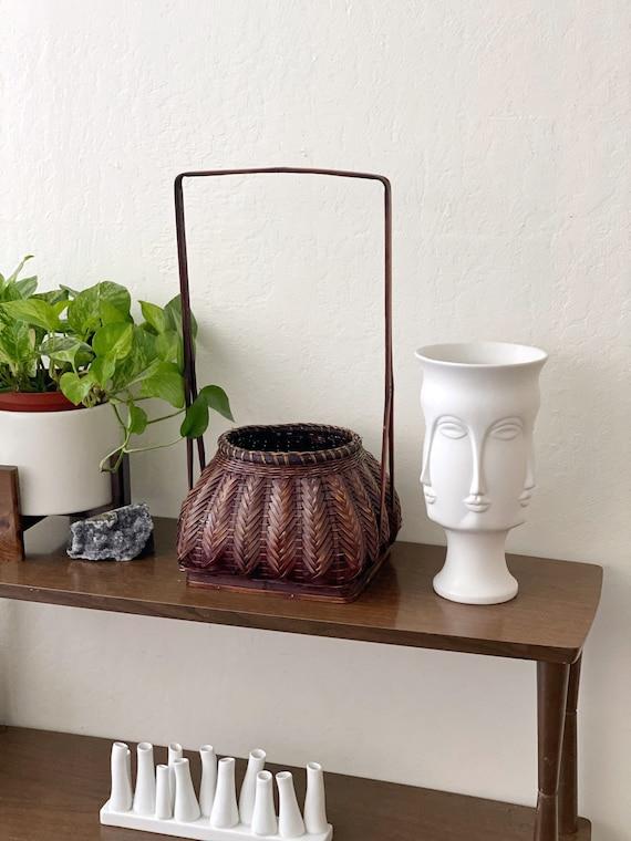 "Tall 18"" Dark Brown Woven Wicker Rattan Ornate Basket"