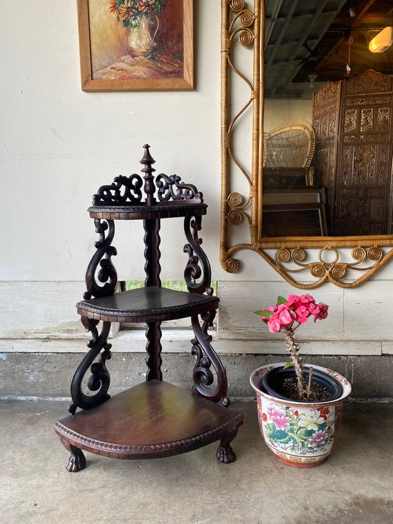 Vintage 1960s Solid Mahogany Wood Chinoiserie Style Plant Stand