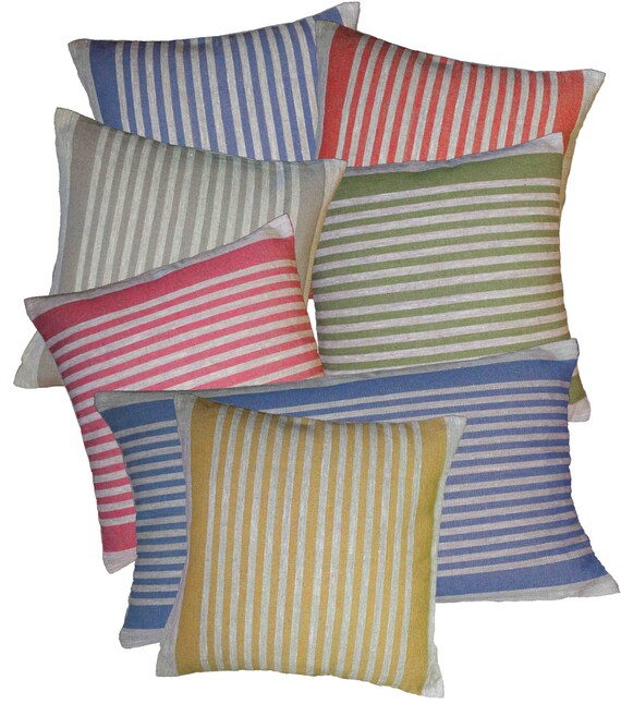 Cushion Cover Ticking Stripe 100% Linen Grey Pillow Case Rough BasketWeave Rustic Country Colorful and Stylish Pick Your Size and Color