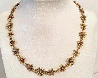 Vintage Antiqued Gold tone Flower Link Necklace