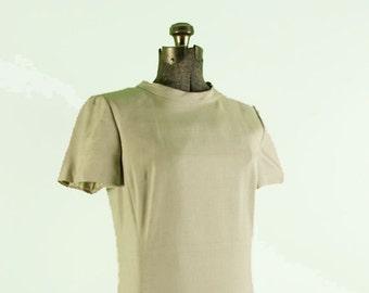 1960s Cream Silk Mod Shift Dress