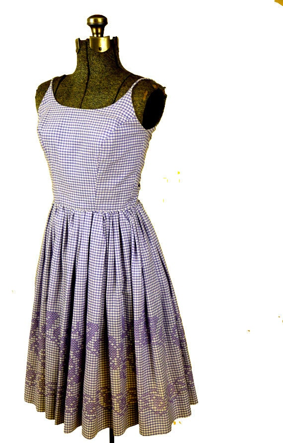 1950s Gingham Embroidered Sundress