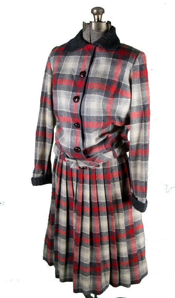 1950s Bobbie Brooks Plaid Dress Set