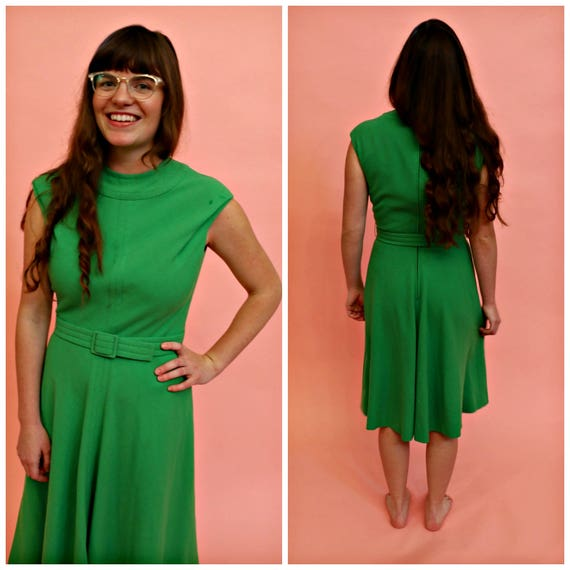 60s Mollie Parnis Boutique Green Wool Dress