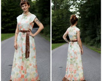 1960s Floral Maxi Dress with Velvet Bow
