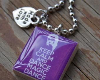 The Labyrinth David Bowie Keep Calm Dance Magic Dance Scrabble Tile Pendant Necklace