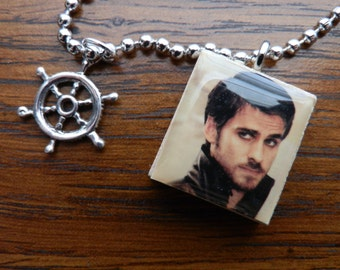 Once Upon A Time Captain Hook Scrabble Tile Pendant Necklace With Ship Wheel Charm