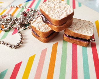 Miniature Peanut Butter And Jelly Sandwich Polymer Clay Pendant Charm For Necklace Or Planner