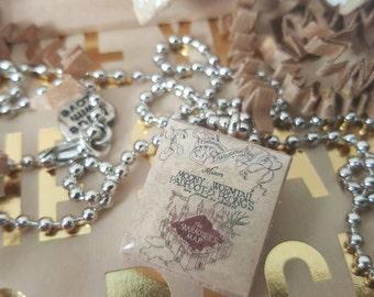 Harry Potter Marauders Map Scrabble Tile Necklace