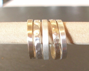 Eco Rings. 5 Stackable Eco Sterling Silver and 9ct Gold Band Rings. Hammered or Plain, Matt Satin or Polished.  Any size. A Gift or treat!!