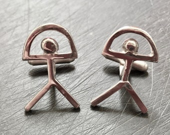 Indalo Cufflinks. Sterling Silver Indalo Man Cufflinks (or called El Indalo or Almeria Man). Handmade in Spain. A perfect male gift or treat