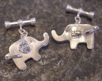 Cufflinks. Sterling Silver Textured Elephant Cufflinks. Mice Cufflinks available too, or other designs. A perfect gift or treat for you! .
