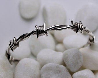 Barbed wire bracelet in sterling silver Small size 6.0 to 6.1/2 inch.