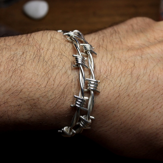 Stacheldraht Armband in Sterling silber große Größe 80 bis   Etsy