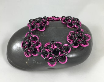 Clearance,  Chainmaille Bracelet, Chain Mail Jewelry, Chain Bracelet, Women's Bracelet, Gifts for Her, Pink and Black Bracelet, Nickel Free