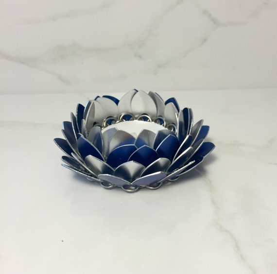 Blue and silver lotus flower candle holder metal candle etsy image 0 mightylinksfo