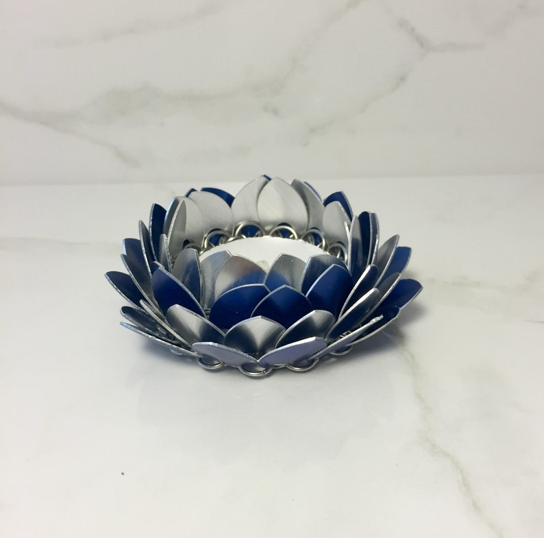 Blue And Silver Lotus Flower Candle Holder Metal Candle Etsy