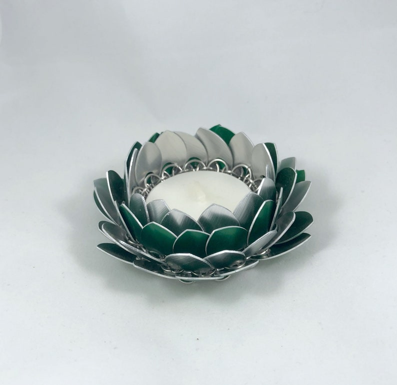 Green Lotus Flower Candle Holder Lotus Blossom Candle Metal Etsy