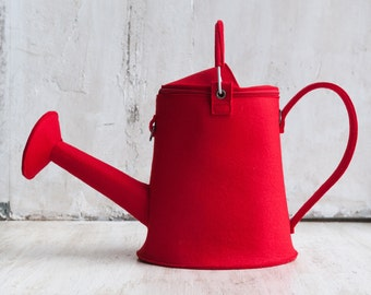 Red Leather Watering Can Watering Pot Shoulder Bag Designer Leather Bag Unusual Leather bag