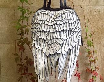 4bd1ed0b21 Wings Backpack Leather Wings bag Printed Featers Wings Backpack