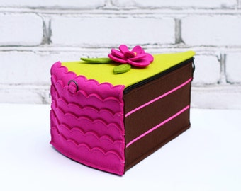 Cake Purse Choсolate Piece Of Сake Felt Bag