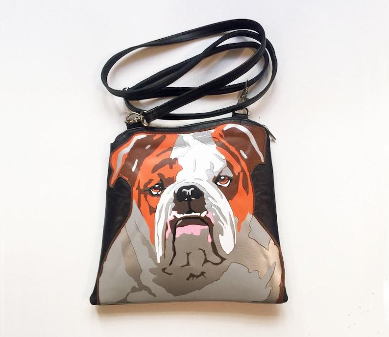 e0ff3729d773e Englische Bulldogge Leder Handtasche rot und braun Hund Tasche
