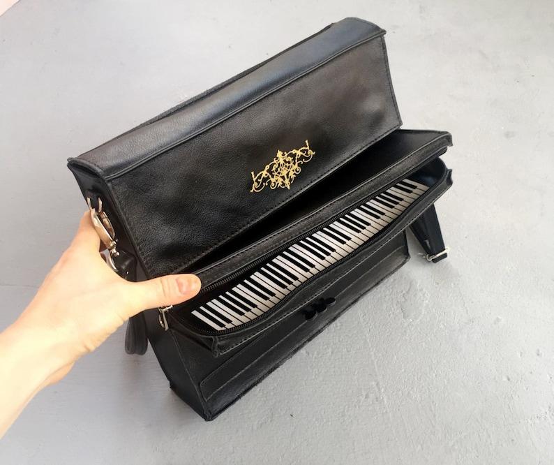 Piano Music Gift Black Leather Bag Upright Piano Purse Unusual image 0