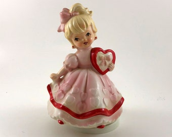 Vintage Japan Valentine Girl Rotating Music Box