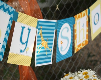 Giraffe Baby Shower Banner- Printed and Shipped CLEARANCE