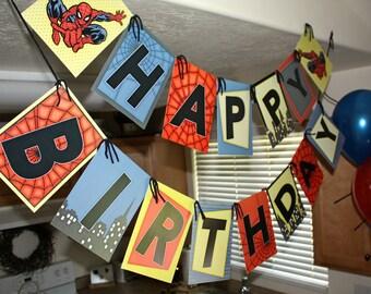 Spiderman Vintage Happy Birthday Party Banner- Printable DIY PDF Only