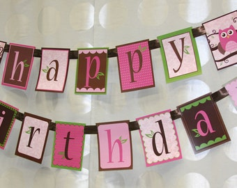 Girl Owl Happy Birthday Party Banner Printed and Shipped CLEARANCE