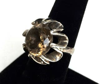 Mid Century Sterling and Smokey Topaz ring